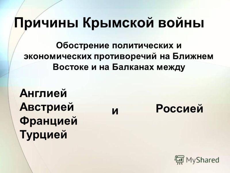 Причины Крымской войны Обострение политических и экономических противоречий на Ближнем Востоке и на Балканах между и Россией Англией Австрией Францией Турцией
