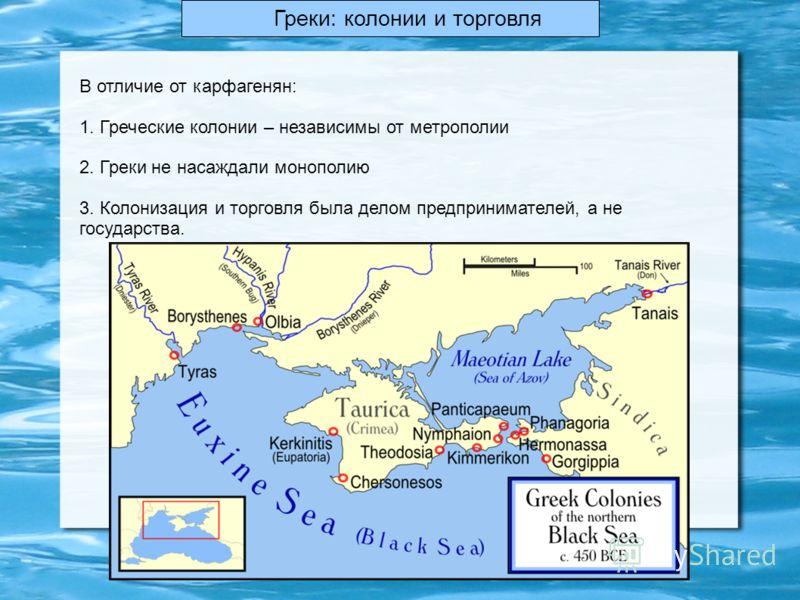 Греки: колонии и торговля В отличие от карфагенян: 1. Греческие колонии – независимы от метрополии 2. Греки не насаждали монополию 3. Колонизация и торговля была делом предпринимателей, а не государства.