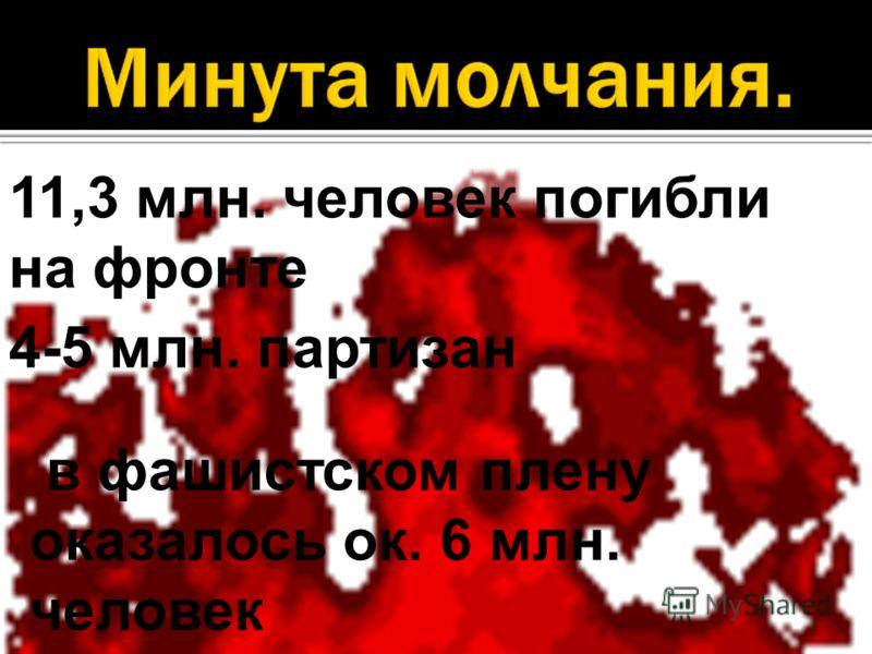11,3 млн. человек погибли на фронте 4-5 млн. партизан в фашистском плену оказалось ок. 6 млн. человек