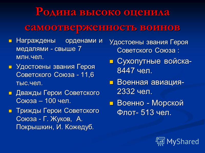 Родина высоко оценила самоотверженность воинов Награждены орденами и медалями - свыше 7 млн.чел. Награждены орденами и медалями - свыше 7 млн.чел. Удостоены звания Героя Советского Союза - 11,6 тыс.чел. Удостоены звания Героя Советского Союза - 11,6