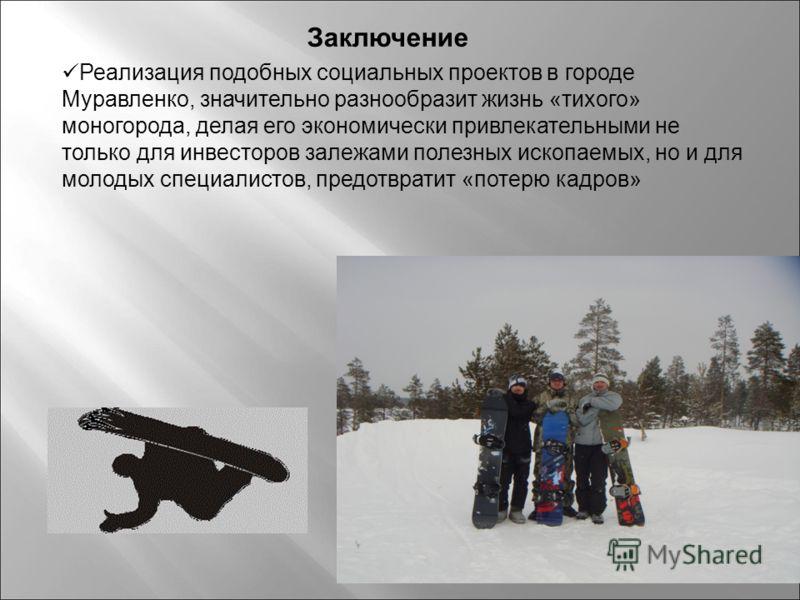 Реализация подобных социальных проектов в городе Муравленко, значительно разнообразит жизнь «тихого» моногорода, делая его экономически привлекательными не только для инвесторов залежами полезных ископаемых, но и для молодых специалистов, предотврати