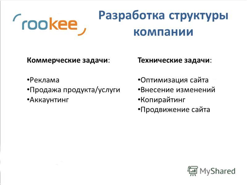 Разработка структуры компании Коммерческие задачи: Реклама Продажа продукта/услуги Аккаунтинг Технические задачи: Оптимизация сайта Внесение изменений Копирайтинг Продвижение сайта