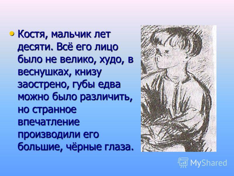 Костя, мальчик лет десяти. Всё его лицо было не велико, худо, в веснушках, книзу заострено, губы едва можно было различить, но странное впечатление производили его большие, чёрные глаза. Костя, мальчик лет десяти. Всё его лицо было не велико, худо, в