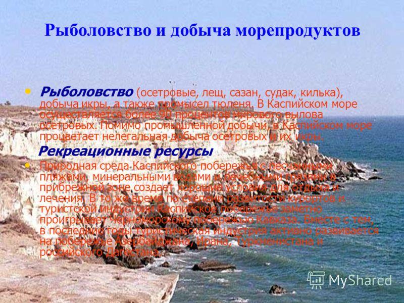 Рыболовство и добыча морепродуктов Рыболовство (осетровые, лещ, сазан, судак, килька), добыча икры, а также промысел тюленя. В Каспийском море осуществляется более 90 процентов мирового вылова осетровых. Помимо промышленной добычи, в Каспийском море