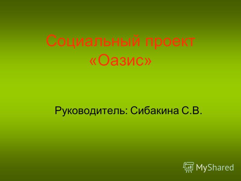 Социальный проект «Оазис» Руководитель: Сибакина С.В.
