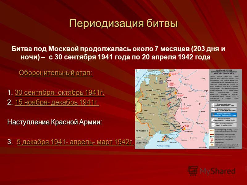 Периодизация битвы Оборонительный этап: Оборонительный этап:Оборонительный этап:Оборонительный этап: 1. 30 сентября- октябрь 1941г. 30 сентября- октябрь 1941г.30 сентября- октябрь 1941г. 2. 15 ноября- декабрь 1941г. 15 ноября- декабрь 1941г.15 ноября