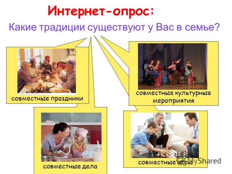 совместные дела совместные игры Какие традиции существуют у Вас в семье? Интернет-опрос: совместные культурные мероприятия совместные праздники
