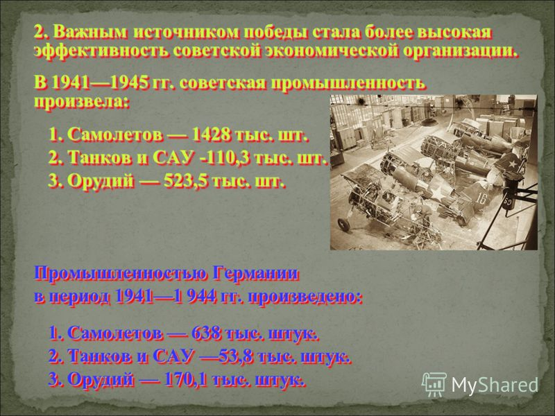2. Важным источником победы стала более высокая эффективность советской экономической организации. В 19411945 гг. советская промышленность произвела: 1. Самолетов 1428 тыс. шт. 1. Самолетов 1428 тыс. шт. 2. Танков и САУ -110,3 тыс. шт. 2. Танков и СА