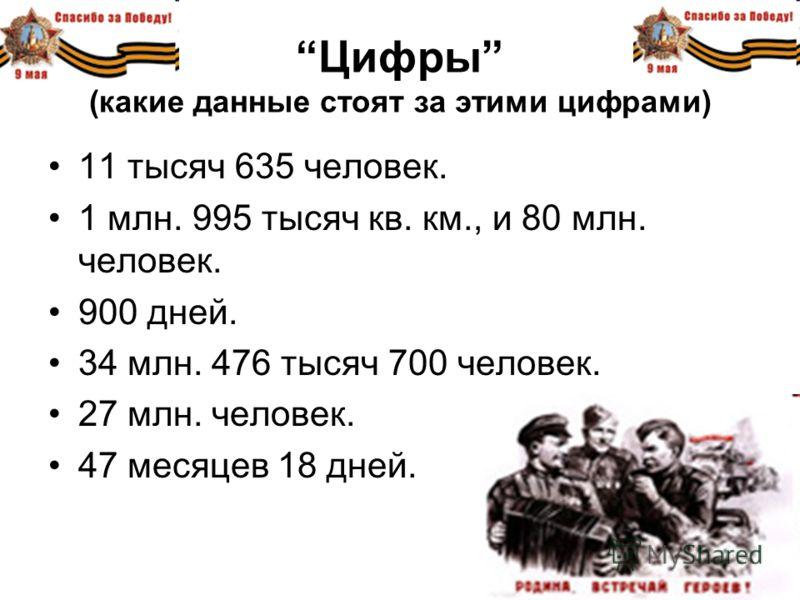 Цифры (какие данные стоят за этими цифрами) 11 тысяч 635 человек. 1 млн. 995 тысяч кв. км., и 80 млн. человек. 900 дней. 34 млн. 476 тысяч 700 человек. 27 млн. человек. 47 месяцев 18 дней.