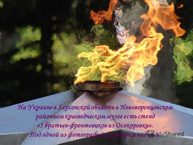 На Украине в Херсонской области в Нововоронцовском районном краеведческом музее есть стенд «5 братьев-фронтовиков из Осокоровки». Под одной из фотографий находится надпись.
