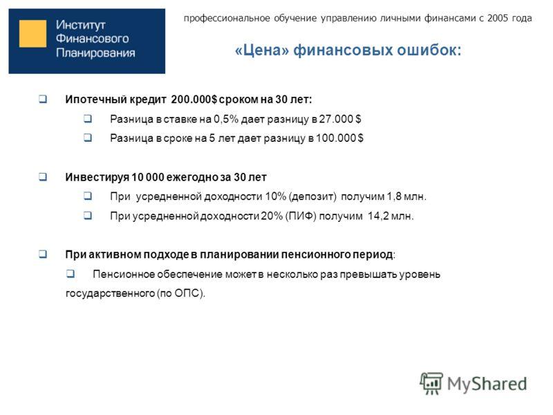 профессиональное обучение управлению личными финансами с 2005 года «Цена» финансовых ошибок: Ипотечный кредит 200.000$ сроком на 30 лет: Разница в ставке на 0,5% дает разницу в 27.000 $ Разница в сроке на 5 лет дает разницу в 100.000 $ Инвестируя 10