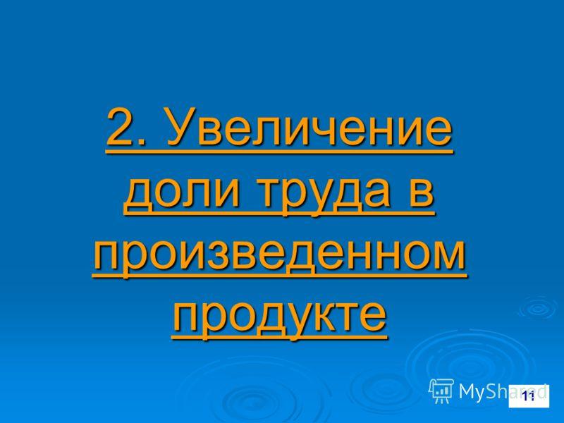 2. Увеличение доли труда в произведенном продукте 11