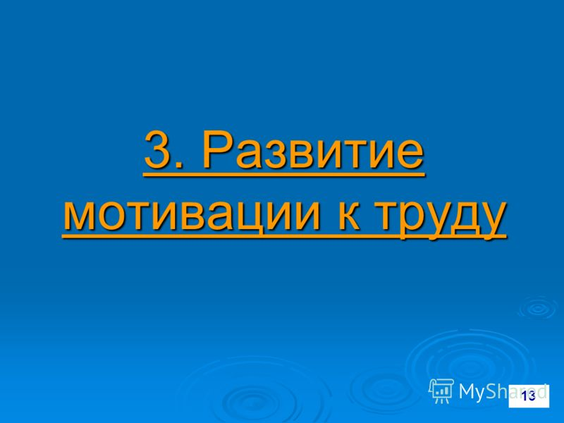 3. Развитие мотивации к труду 13