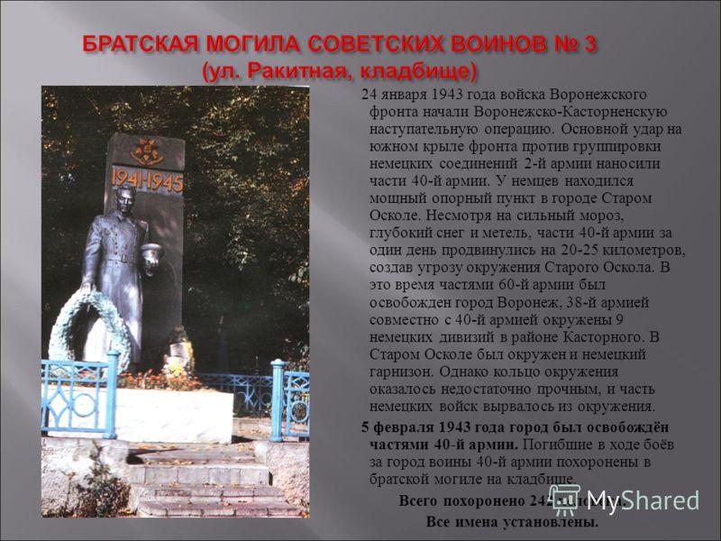 24 января 1943 года войска Воронежского фронта начали Воронежско-Касторненскую наступательную операцию. Основной удар на южном крыле фронта против группировки немецких соединений 2-й армии наносили части 40-й армии. У немцев находился мощный опорный