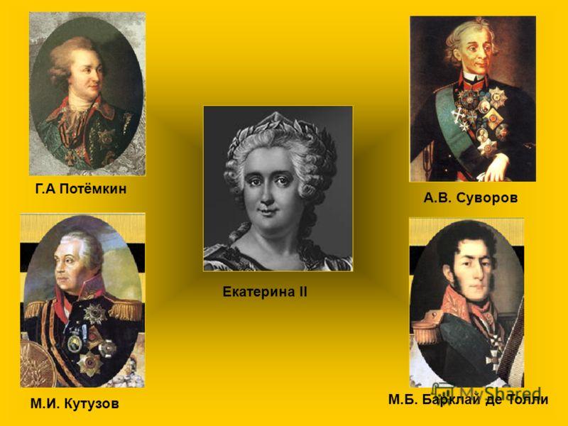 Г.А Потёмкин А.В. Суворов М.И. Кутузов М.Б. Барклай де Толли Екатерина II