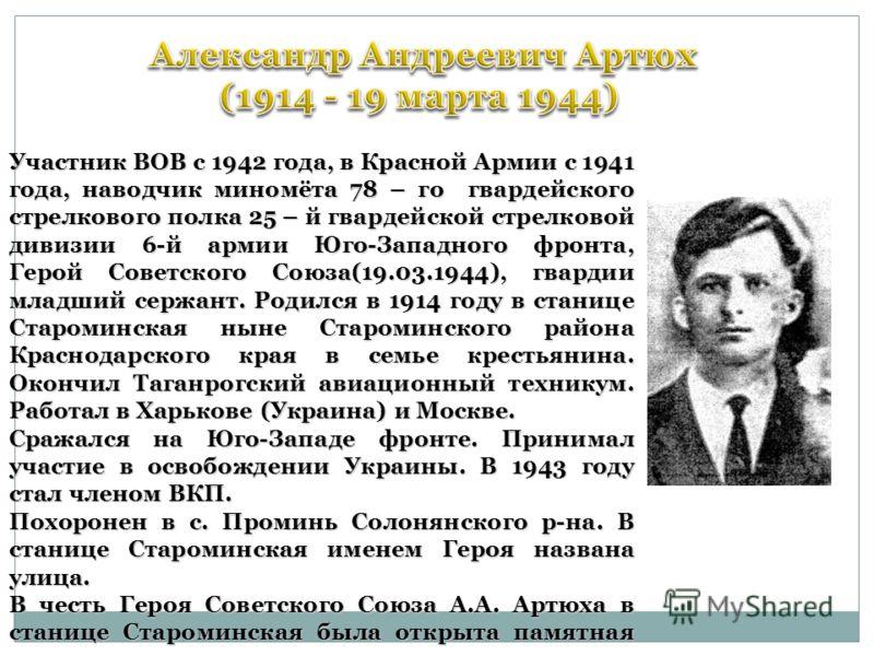 Участник ВОВ с 1942 года, в Красной Армии с 1941 года, наводчик миномёта 78 – го гвардейского стрелкового полка 25 – й гвардейской стрелковой дивизии 6-й армии Юго-Западного фронта, Герой Советского Союза(19.03.1944), гвардии младший сержант. Родился