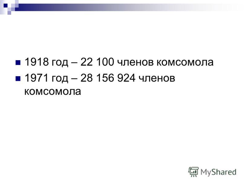 1918 год – 22 100 членов комсомола 1971 год – 28 156 924 членов комсомола