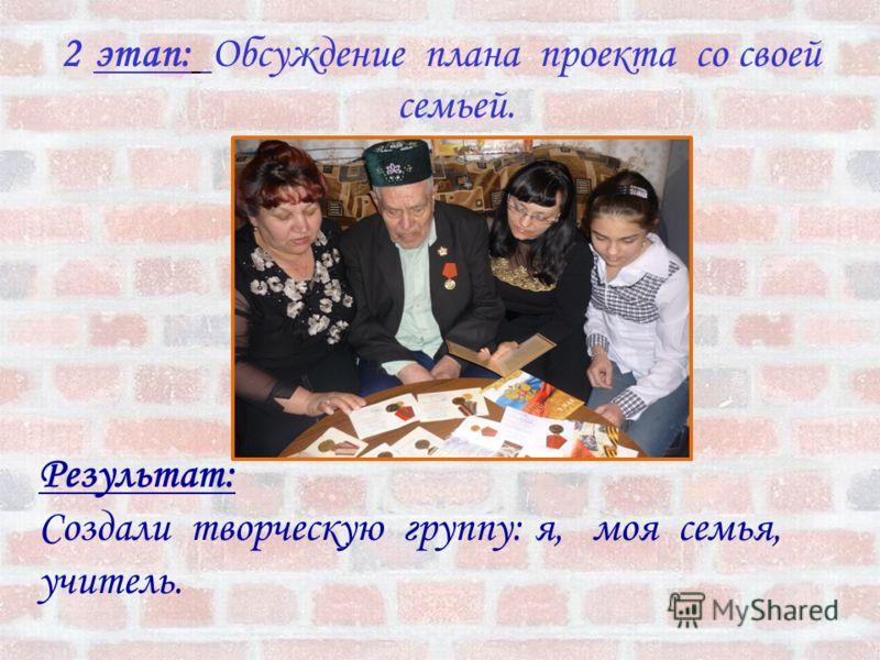 2этап: Обсуждение плана проекта со своей семьей. Результат: Создали творческую группу: я, моя семья, учитель.