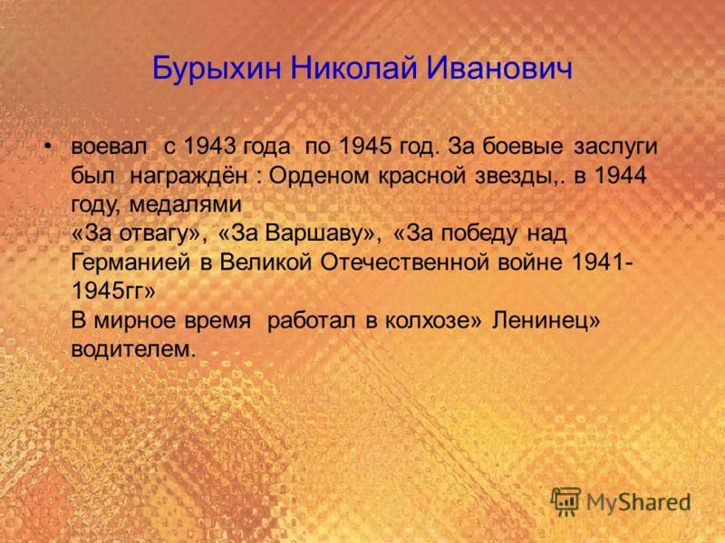 Бурыхин Николай Иванович воевал с 1943 года по 1945 год. За боевые заслуги был награждён : Орденом красной звезды,. в 1944 году, медалями «За отвагу», «За Варшаву», «За победу над Германией в Великой Отечественной войне 1941- 1945гг» В мирное время р