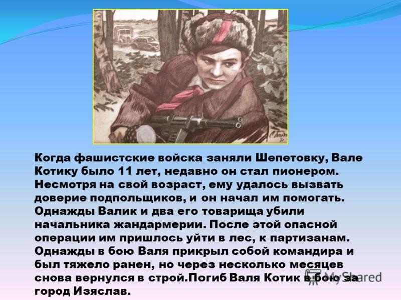 Когда фашистские войска заняли Шепетовку, Вале Котику было 11 лет, недавно он стал пионером. Несмотря на свой возраст, ему удалось вызвать доверие подпольщиков, и он начал им помогать. Однажды Валик и два его товарища убили начальника жандармерии. По