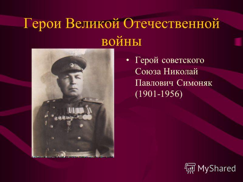 Герои Великой Отечественной войны Герой советского Союза Николай Павлович Симоняк (1901-1956)