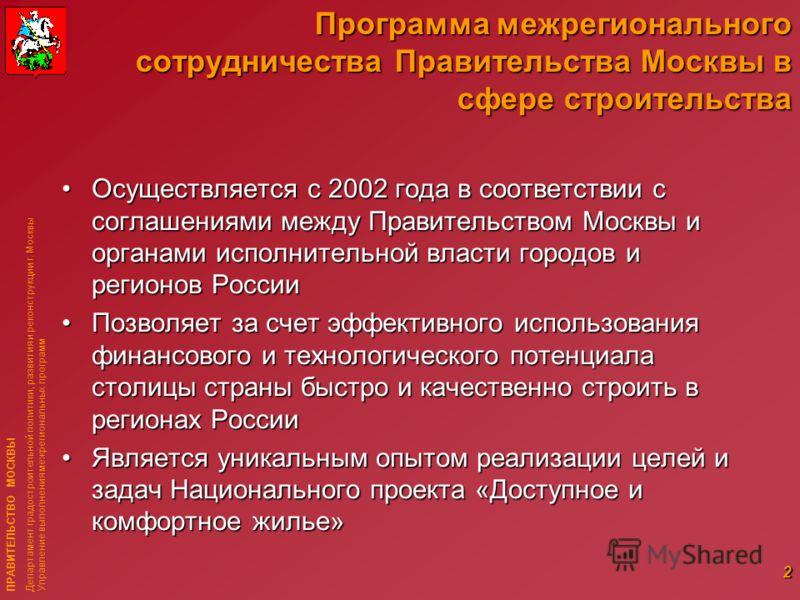 ПРАВИТЕЛЬСТВО МОСКВЫ Департамент градостроительной политики, развития и реконструкции г. Москвы Управление выполнения межрегиональных программ 2 Программа межрегионального сотрудничества Правительства Москвы в сфере строительства Осуществляется с 200