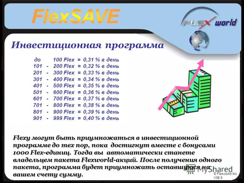 © Flexworld Inc. V08.9 Инвестиционная программа до 100 Flex = 101 - 200 Flex = 201 - 300 Flex = 301 - 400 Flex = 401 - 500 Flex = 501 - 600 Flex = 601 - 700 Flex = 701 - 800 Flex = 801 - 900 Flex = 901 - 999 Flex = 0,31 % в день 0,32 % в день 0,33 %