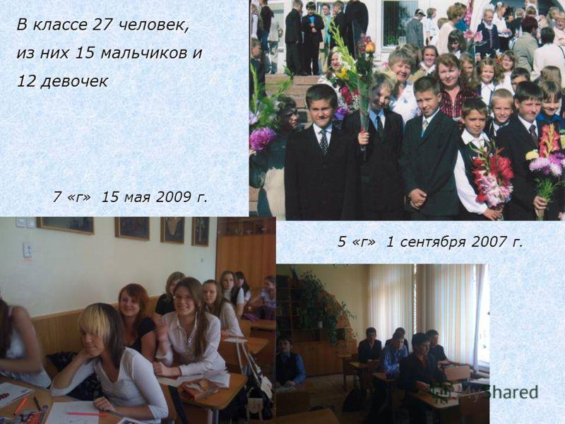 В классе 27 человек, из них 15 мальчиков и 12 девочек 7 «г» 15 мая 2009 г. 5 «г» 1 сентября 2007 г.