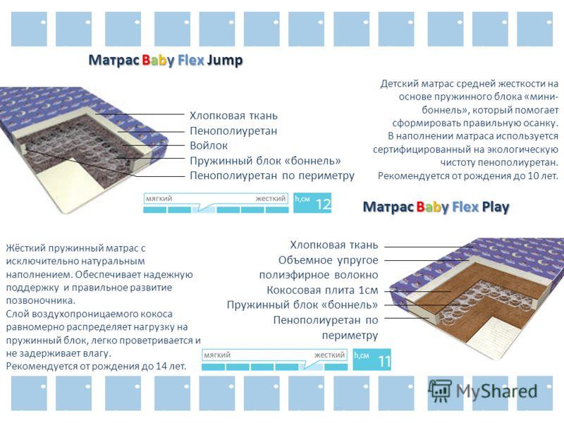 Матрас Baby Flex Jump Хлопковая ткань Пенополиуретан Войлок Пружинный блок «боннель» Пенополиуретан по периметру Детский матрас средней жесткости на основе пружинного блока «мини- боннель», который помогает сформировать правильную осанку. В наполнени