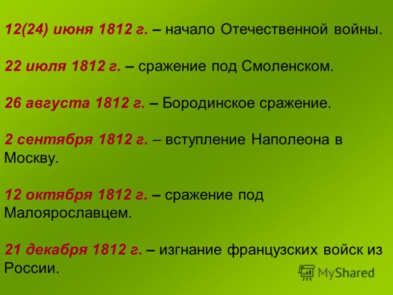 12(24) июня 1812 г. – начало Отечественной войны. 22 июля 1812 г. – сражение под Смоленском. 26 августа 1812 г. – Бородинское сражение. 2 сентября 1812 г. – вступление Наполеона в Москву. 12 октября 1812 г. – сражение под Малоярославцем. 21 декабря 1