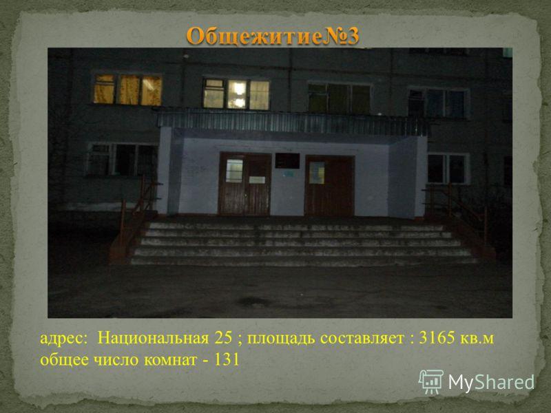 адрес: Национальная 25 ; площадь составляет : 3165 кв.м общее число комнат - 131