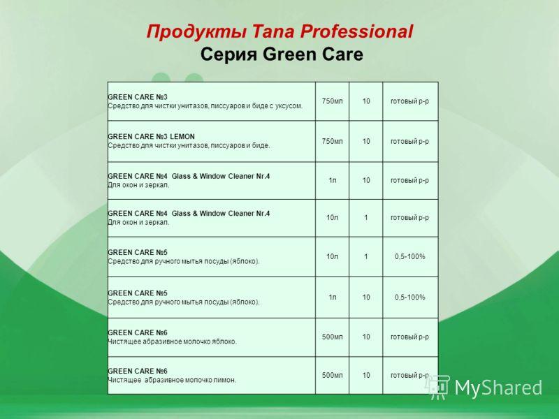 11 Продукты Tana Professional Серия Green Care GREEN CARE 3 Средство для чистки унитазов, писсуаров и биде с уксусом. 750мл10готовый р-р GREEN CARE 3 LEMON Средство для чистки унитазов, писсуаров и биде. 750мл10готовый р-р GREEN CARE 4 Glass & Window