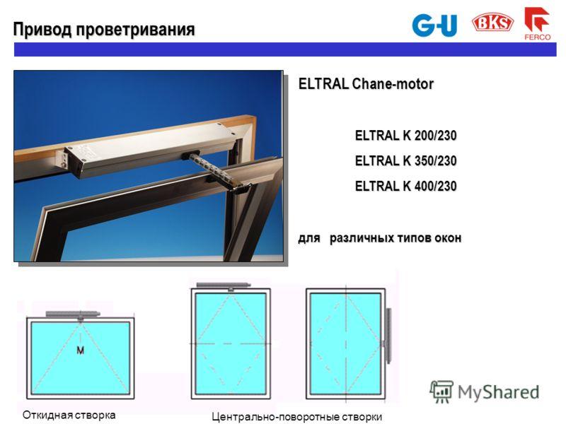 Откидная створка Привод проветривания ELTRAL Chane-motor ELTRAL K 200/230 ELTRAL K 350/230 ELTRAL K 400/230 для различных типов окон Центрально-поворотные створки