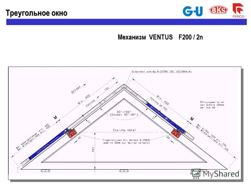 Треугольное окно Механизм VENTUS F200 / 2n