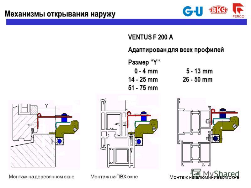 VENTUS F 200 A Адаптирован для всех профилей Размер Y 0 - 4 mm 5 - 13 mm 0 - 4 mm 5 - 13 mm 14 - 25 mm 26 - 50 mm 51 - 75 mm Y Механизмы открываниянаружу Механизмы открывания наружу Монтаж на деревянном окнеМонтаж на ПВХ окне Монтаж на алюминиевом ок