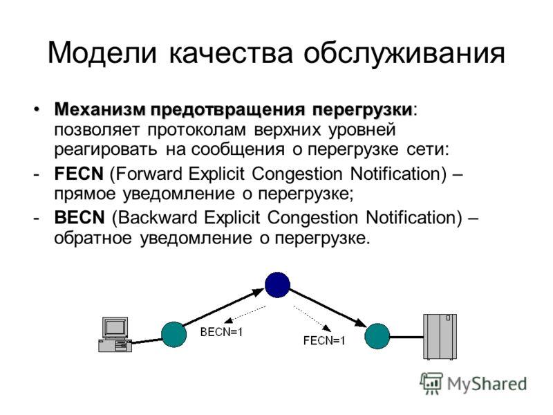 Модели качества обслуживания Механизм предотвращения перегрузкиМеханизм предотвращения перегрузки: позволяет протоколам верхних уровней реагировать на сообщения о перегрузке сети: -FECN (Forward Explicit Congestion Notification) – прямое уведомление