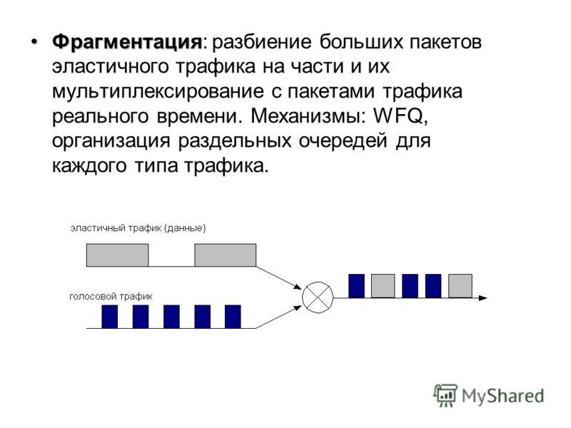 ФрагментацияФрагментация: разбиение больших пакетов эластичного трафика на части и их мультиплексирование с пакетами трафика реального времени. Механизмы: WFQ, организация раздельных очередей для каждого типа трафика.