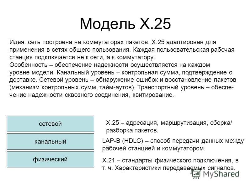 Модель Х.25 сетевой канальный физический Х.25 – адресация, маршрутизация, сборка/ разборка пакетов. Х.21 – стандарты физического подключения, в т. ч. Характеристики передаваемых сигналов. LAP-B (HDLC) – способ передачи данных между рабочей станцией и
