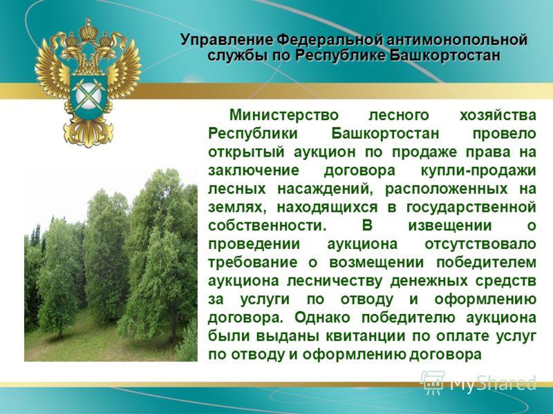 Управление Федеральной антимонопольной службы по Республике Башкортостан Министерство лесного хозяйства Республики Башкортостан провело открытый аукцион по продаже права на заключение договора купли-продажи лесных насаждений, расположенных на землях,