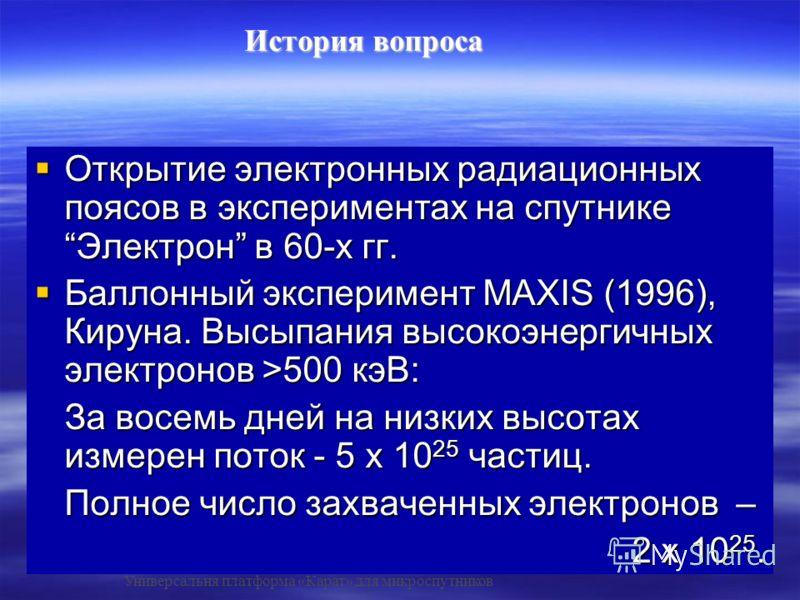 Открытие электронных радиационных поясов в экспериментах на спутнике Электрон в 60-х гг. Открытие электронных радиационных поясов в экспериментах на спутнике Электрон в 60-х гг. Баллонный эксперимент MAXIS (1996), Кируна. Высыпания высокоэнергичных э
