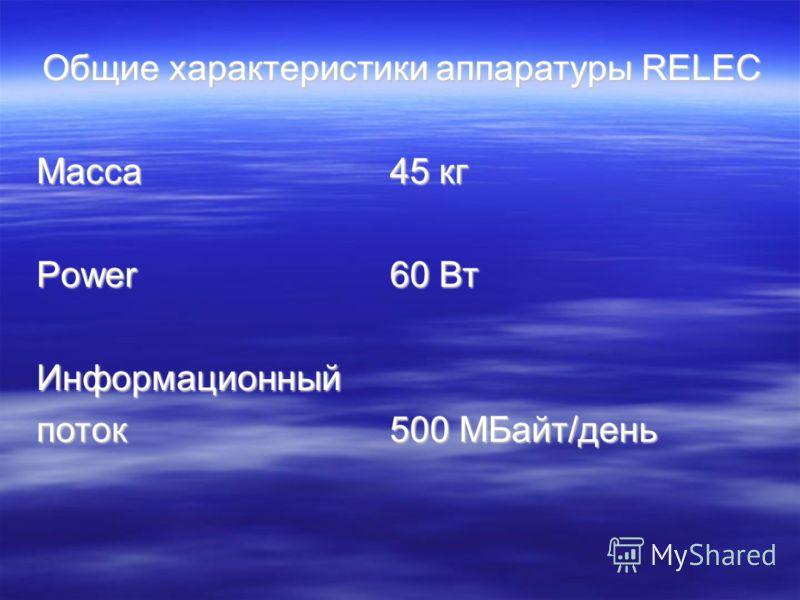 Общие характеристики аппаратуры RELEC Масса45 кг Power60 Вт Информационный поток500 МБайт/день