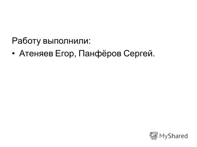 Работу выполнили: Атеняев Егор, Панфёров Сергей.