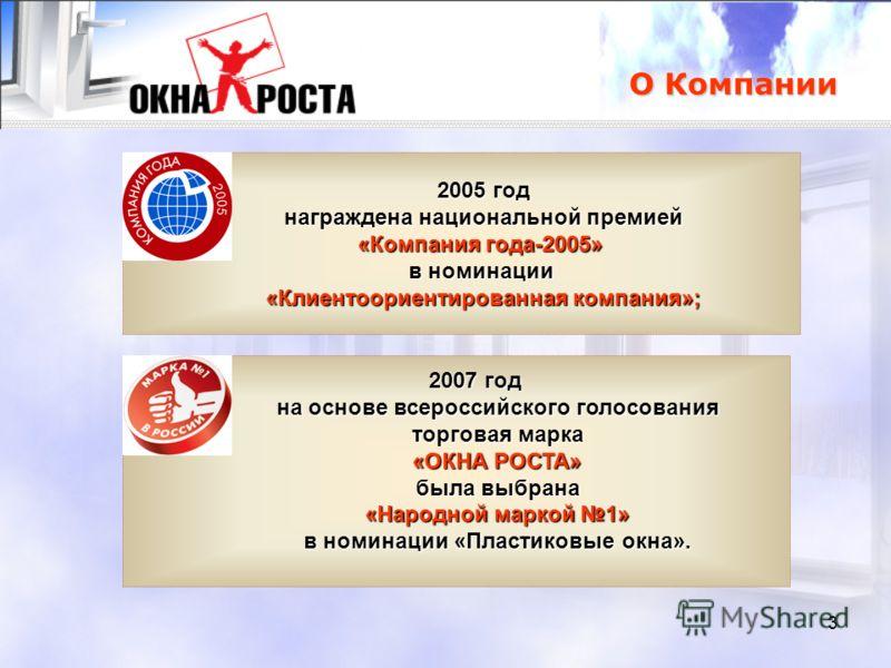 3 О Компании 2005 год награждена национальной премией награждена национальной премией «Компания года-2005» в номинации «Клиентоориентированная компания»; 2007 год на основе всероссийского голосования торговая марка «ОКНА РОСТА» была выбрана «Народной