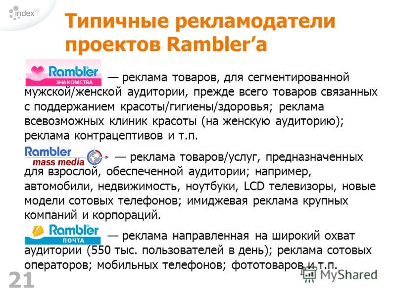 21 реклама направленная на широкий охват аудитории (550 тыс. пользователей в день); реклама сотовых операторов; мобильных телефонов; фототоваров и т.п. Типичные рекламодатели проектов Ramblerа реклама товаров, для сегментированной мужской/женской ауд