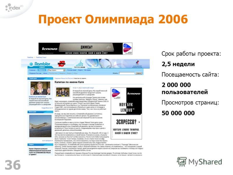 36 Срок работы проекта: 2,5 недели Посещаемость сайта: 2 000 000 пользователей Просмотров страниц: 50 000 000 Проект Олимпиада 2006