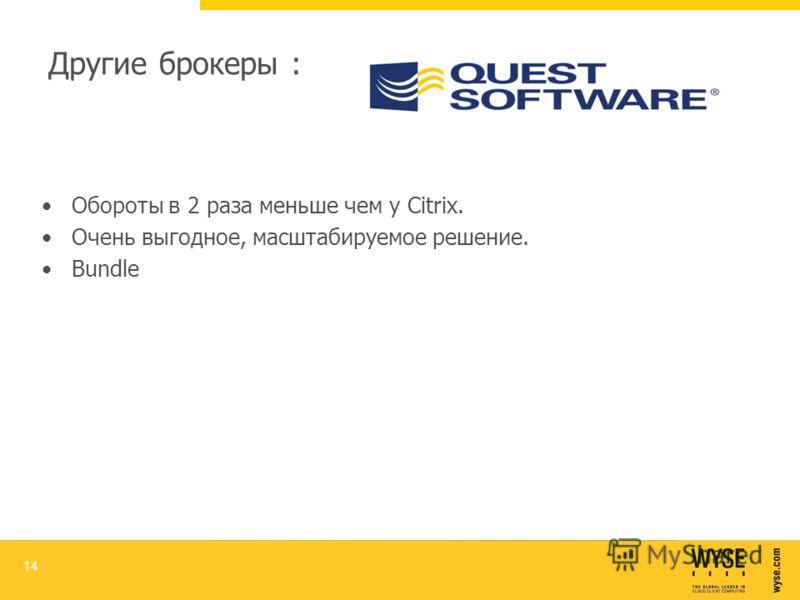Другие брокеры : QUEST SOFTWARE Обороты в 2 раза меньше чем у Citrix. Очень выгодное, масштабируемое решение. Bundle 14