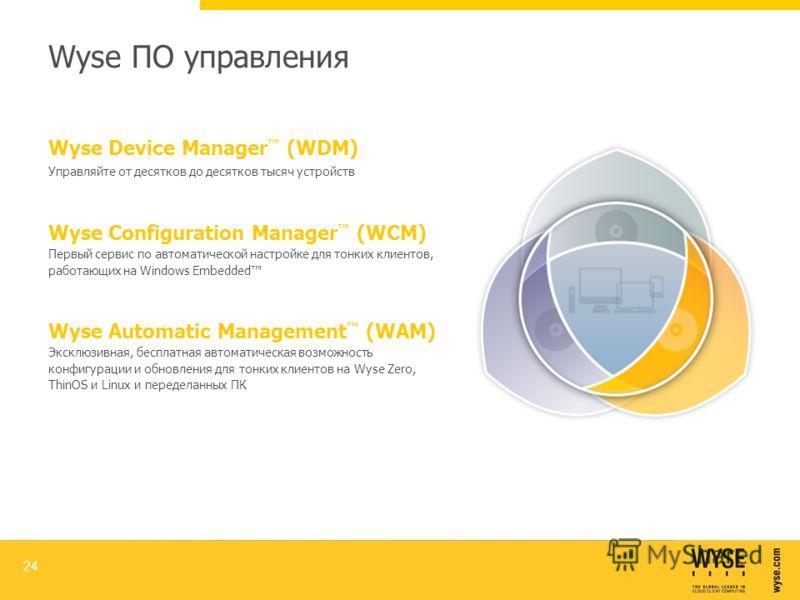 Wyse ПО управления 24 Wyse Device Manager (WDM) Управляйте от десятков до десятков тысяч устройств Wyse Automatic Management (WAM) Эксклюзивная, бесплатная автоматическая возможность конфигурации и обновления для тонких клиентов на Wyse Zero, ThinOS