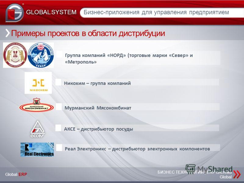 БИЗНЕС ТЕХНОЛОГИИ | ERP система Global Бизнес-приложения для управления предприятием GLOBAL SYSTEM Примеры проектов в области дистрибуции Группа компаний «НОРД» (торговые марки «Север» и «Метрополь» Мурманский Мясокомбинат АКСЕ – дистрибьютор посуды