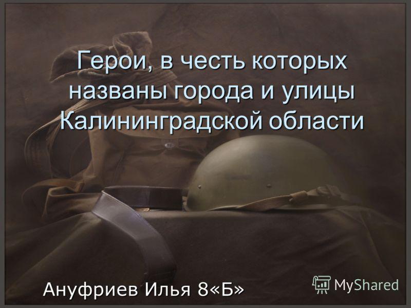 Герои, в честь которых названы города и улицы Калининградской области Ануфриев Илья 8«Б»