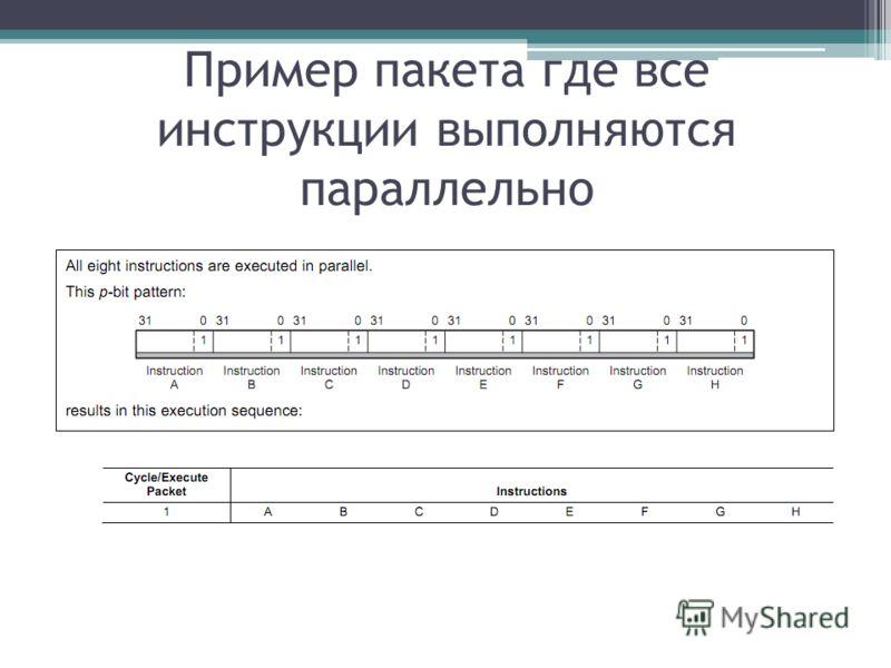 Пример пакета где все инструкции выполняются параллельно